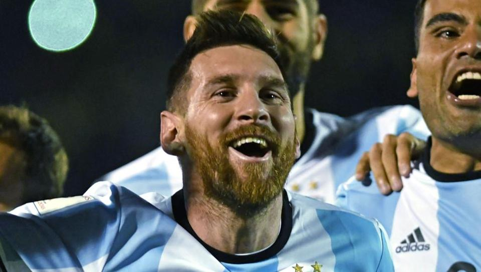 Argentina's Lionel Messi celebrates after defeating Ecuador and qualifying for the 2018 FIFA World Cup in Quito on Tuesday. (AFP)