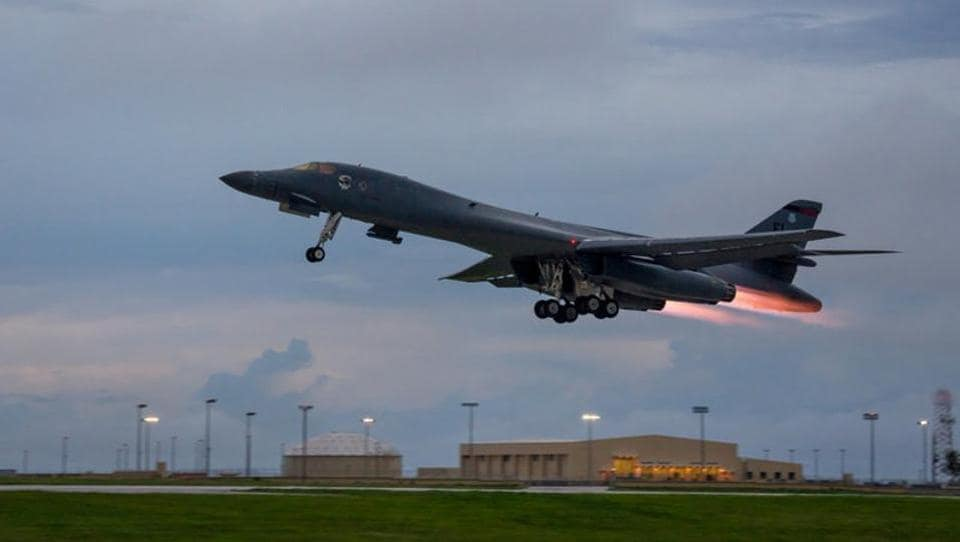 A US Air Force B-1B Lancer  takes off from Andersen Air Force Base, Guam, to fly a bilateral mission with Japanese and South Korea Air Force jets in the vicinity of the Sea of Japan on October 10, 2017.