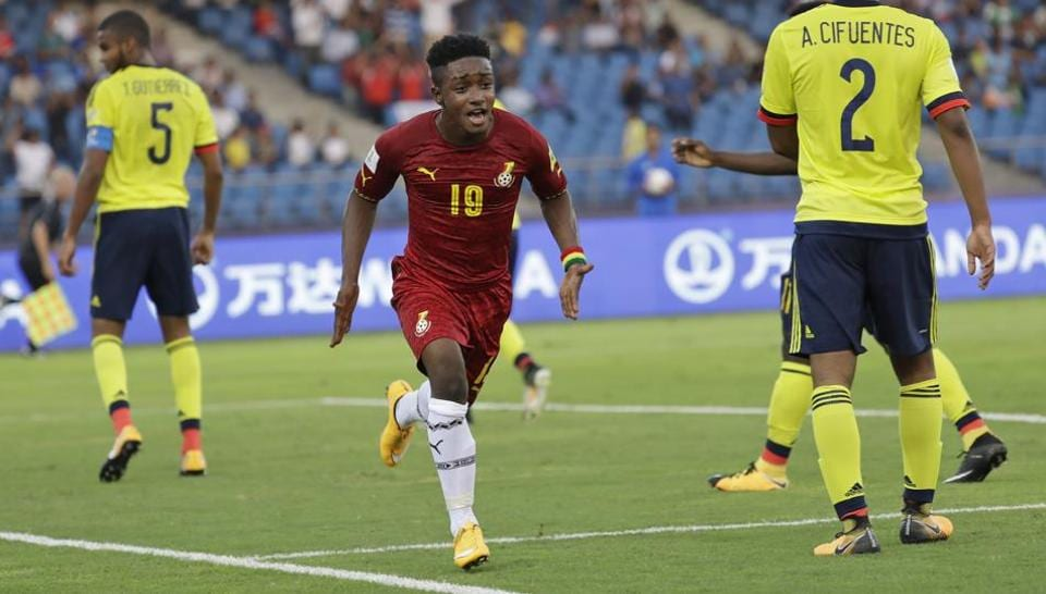Ghana's Sadie Ibrahim, center, celebrates a goal during their FIFA U-17 World Cup match against Colombia.