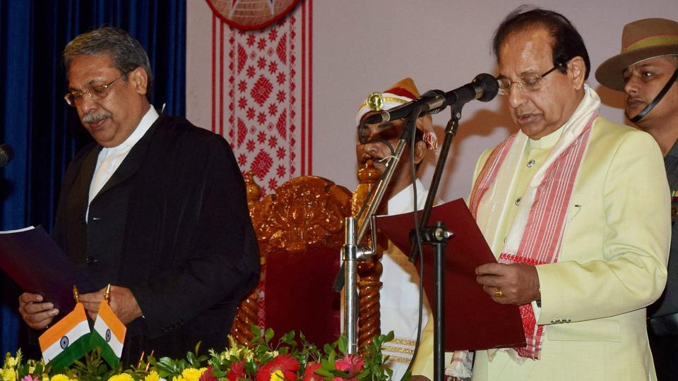 Jagdish Mukhi being administered oath as Governor of Assam by Chief Justice of Gauhati High Court, Justice Ajit Singh at a ceremony at Srimanta Sankardev Kalakshetra at Panjabari in Guwahati on Tuesday.