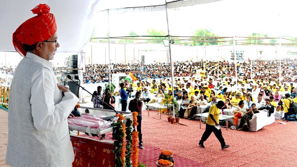 Kailash Satyarthi at DAV School in Jaipur on Wednesday.