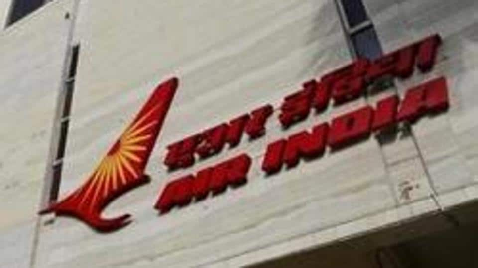 A file picture of the Air India logo seen on the facade of its office building in Mumbai.