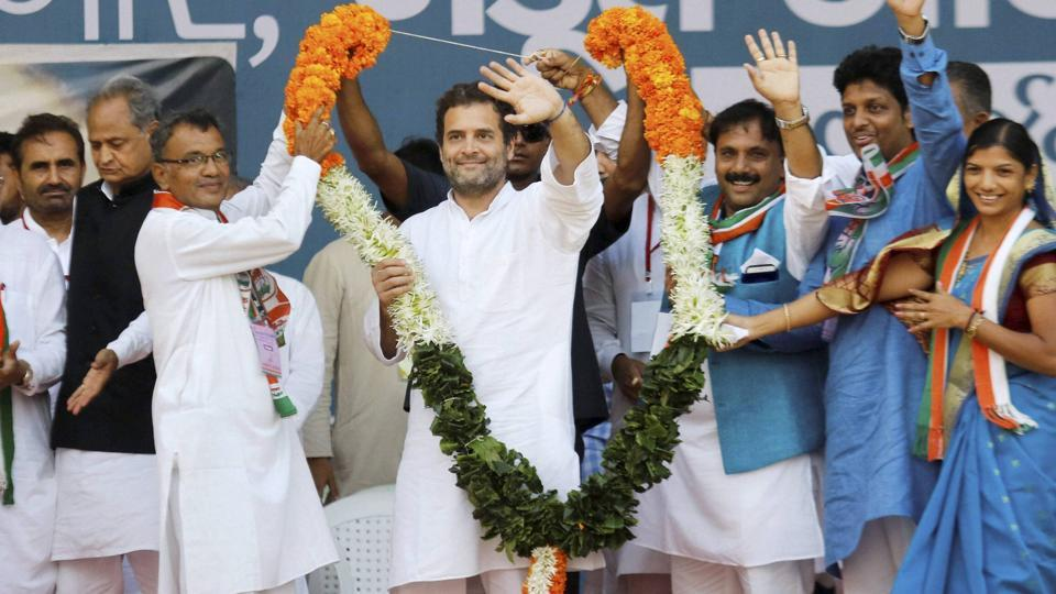 Congress vice president Rahul Gandhi at a public meeting at Bodeli in Chhota Udaipur district of Gujarat on Tuesday.