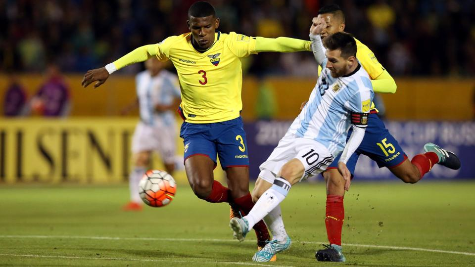 Messi got his third goal in the 62nd minute, weighting a perfect 18-yard shot that went in just over the fingers of Ecuador keeper Maximo Banguera. (REUTERS)