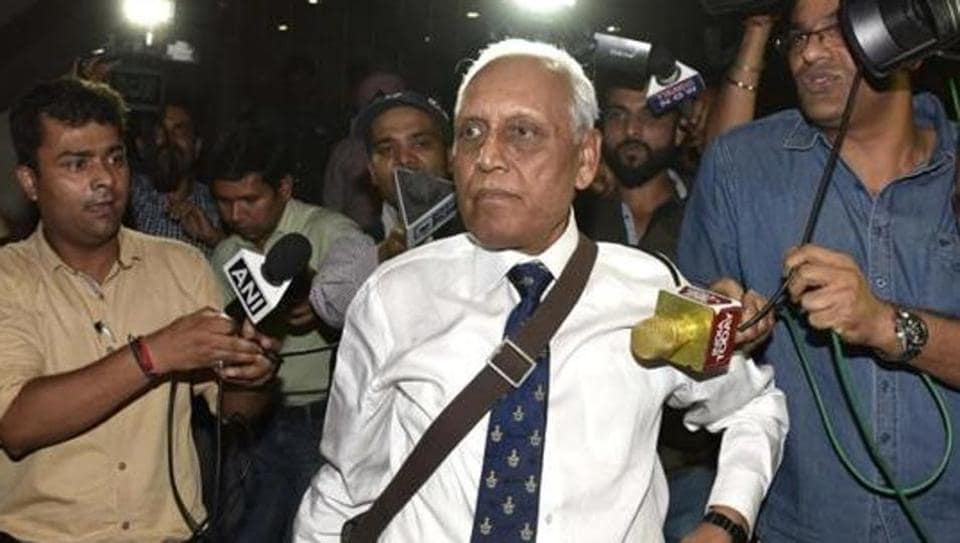 Former Air Chief Marshal SP Tyagi departing from the CBI headquarters.