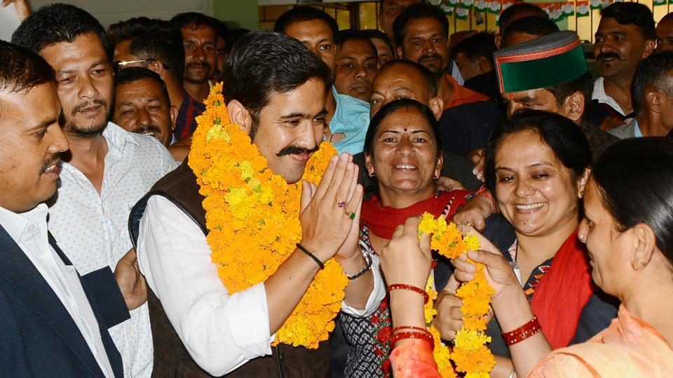 Party workers welcoming Himachal Pradesh Youth Congress president Vikramaditya Singh at the Congress office in Shimla on Tuesday.