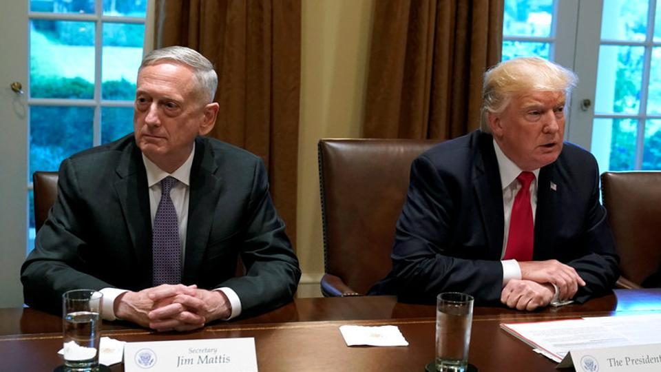 US President Donald Trump (R) and Defense Secretary James Mattis participate in a briefing with senior military leaders at the White House in Washington.
