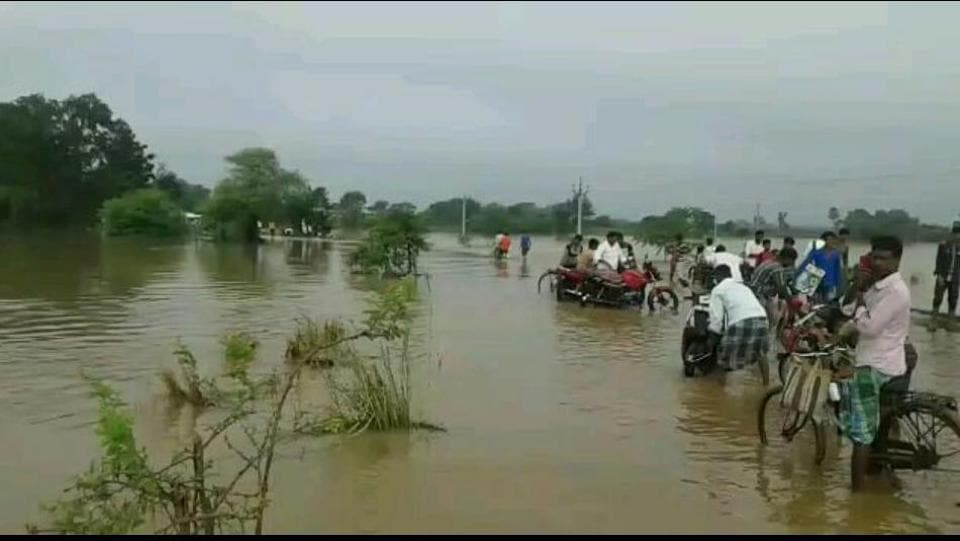 Part of the Bharatpur-Kandi state highway that has been flooded.