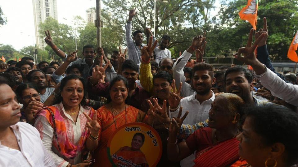 BJP's Jagruti Patel celebrates her victory.
