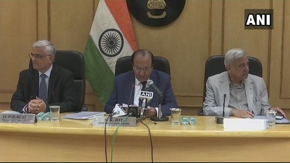 Election Commission addresses press conference on Gujarat and Himachal Pradesh assembly elections.