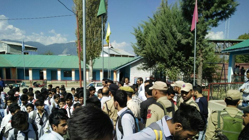 Students protest against the alleged disrespect to national anthem by a government official at Government Model Boys' Higher Secondary School in Kishtwar on Thursday.