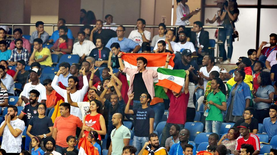 A strong crowd of 52,000 was in attendance at the JLN stadium as India took on Ghana in their final league game of the FIFA U-17 World Cup. (PTI)
