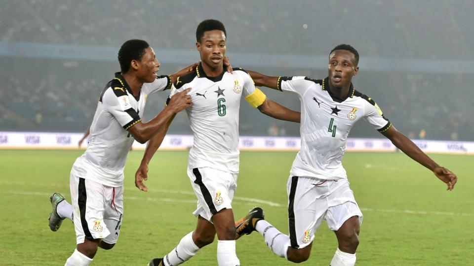 Ghana thrashed India 4-0 in their last group A match of 2017 FIFA U-17 World Cup at the Nehru Stadium in Delhi and progressed to the round of 16 along with Colombia, who defeated USA 3-1. Get highlights of India vs Ghana here.