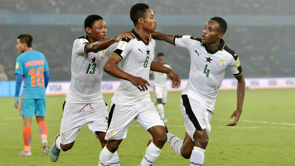 New Delhi: Ghana's Eric Ayiah (C) and teammates celebrate after scoring a goal against India during their U-17 FIFA World cup football match in New Delhi on Thursday. PTI Photo by Vijay Verma (PTI10_12_2017_000215A) (PTI)