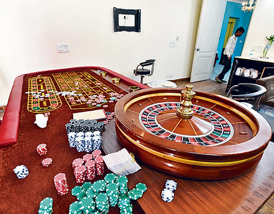 A casino table seized during the gambling den bust on Wednesday night.