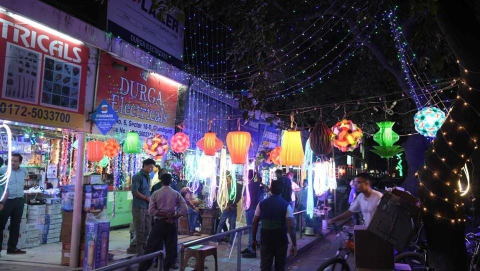 Cheap and colourful, Chinese decorative lights and lamps are available in various designs at the Sector-18 electronics market in Chandigarh.