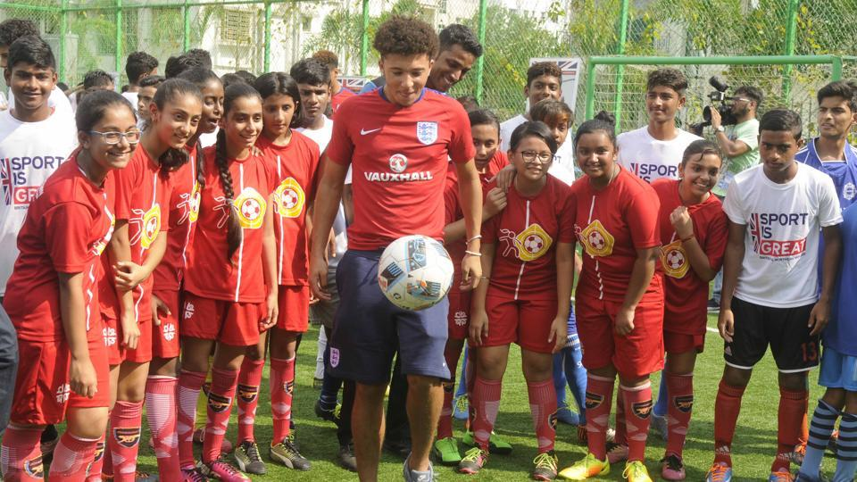 England U-17 football player Jadon Sancho show his ball skills in front of kids during their Newtown School visit in Kolkata. Sancho's scored a goal inEngland's 3-2 win over Mexico in their FIFA U-17 World Cup encounter on Wednesday.