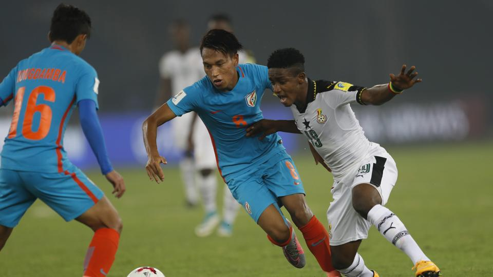 Goals from Emmanuel Toku and Richard Danston helped Ghana beat India 4-0 and qualify for the round of 16 while India were dumped out of the tournament.  (AP)