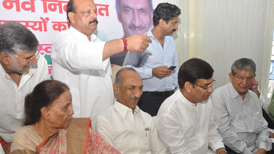 JP Agarwal (second from left) with other members of the PCC at the meeting in Dehradun on Thursday.