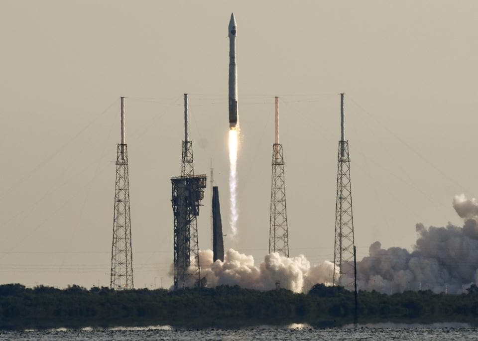 A United Launch Alliance Atlas V rocket lifts off from Complex 41 at Cape Canaveral Air Force Station, Florida.