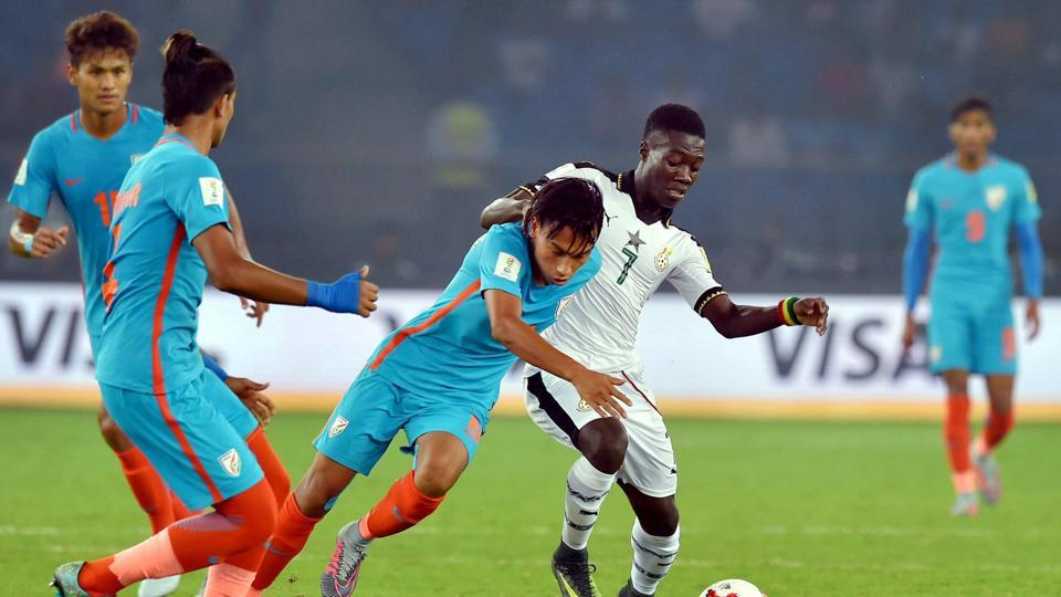 Ghana had some shots at goal but India stubbornly held firm. (PTI)