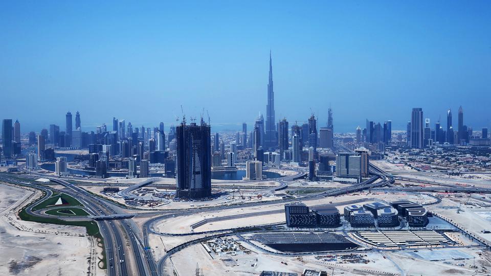 An ariel view shows the Burj Khalifa, the world's tallest tower, dominating the Dubai skyline on April 10, 2016.