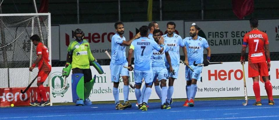 India defeated Bangladesh 7-0 in a one-sided encounter at the Asia Cup hockey tournament.