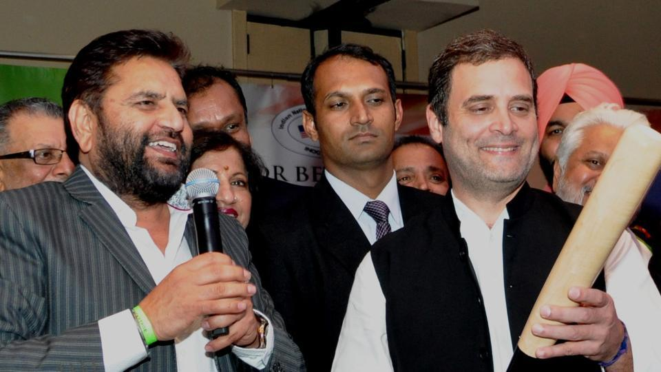 President of the Indian National Overseas Congress, Shudh Prakash Singh (L), along with Congress vice-president Rahul Gandhi during his US visit.