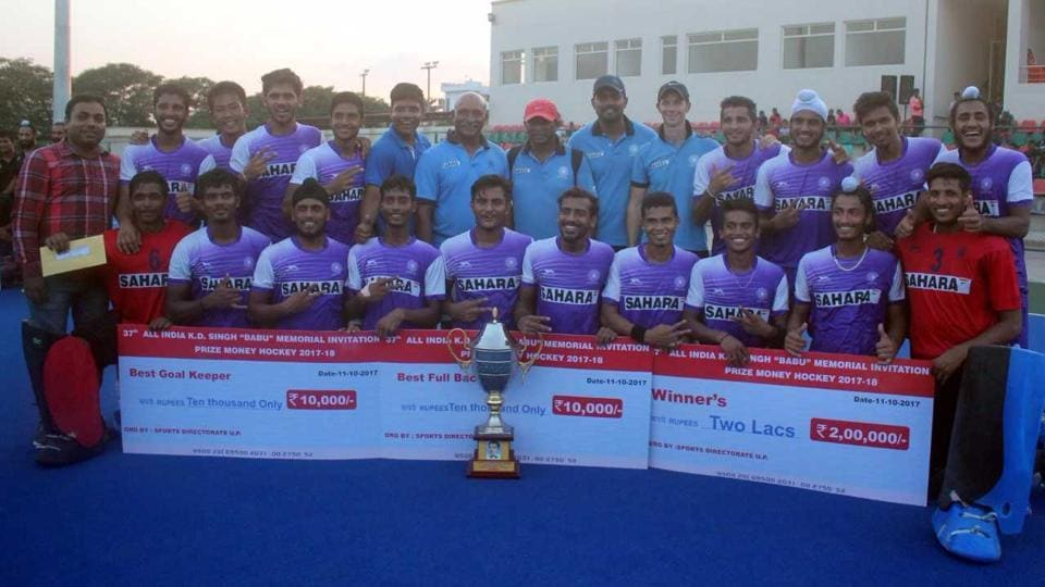 India's junior hockey team pose after winning the All-India KD Singh 'Babu' hockey tournament in Lucknow on Wednesday.