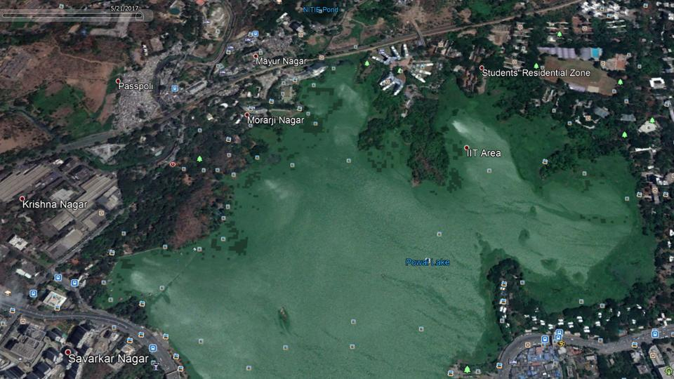 A satellite image captured in 2017 shows encroachments around Powai lake.