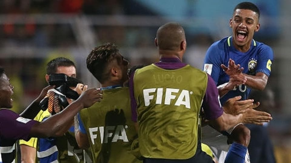 Brenner of Brazil celebrates with teammates after scoring against Niger in their FIFA U-17 World Cup Group C match at Pandit Jawaharlal Nehru Stadium in Goa on Friday.