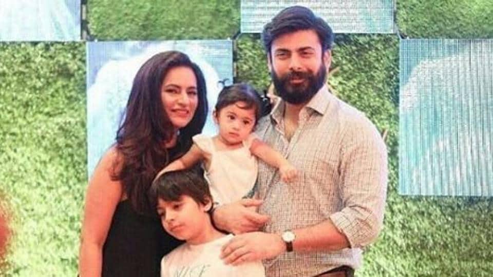 Actor Fawad Khan with wife Sadaf, son Ayaan and daughter Elayna.