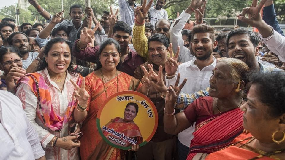 The BJP's Jagruti Patil  (centre, in orange) defeated the Shiv Sena's candidate  to win the Bhandup by-election on Thursday.