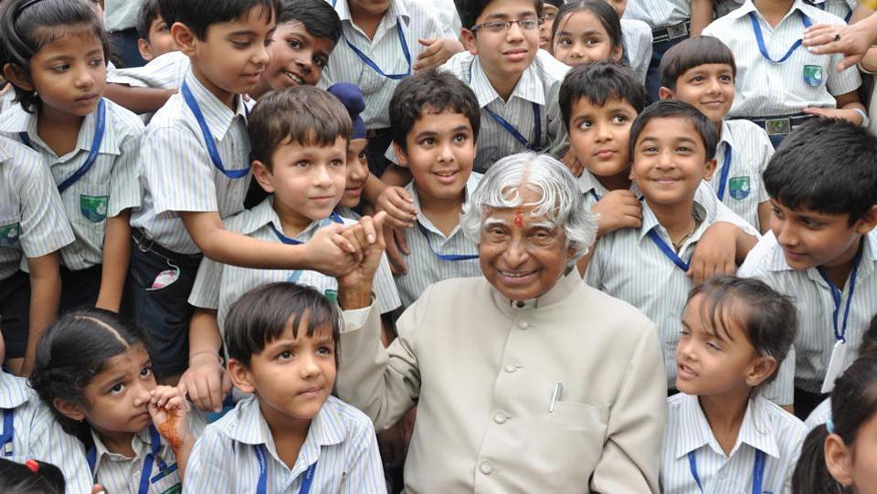 Former President Dr. APJ Abdul Kalam with children from Millennium School in Lucknow, October 2010. Students held a place of priority throught Kalam's life and even after his retirement from presidency he strived to encourage the country's youth. On July 2015, while addressing students of IIM Shillong, he breathed his last. (Ashok Dutta / HT Photo)