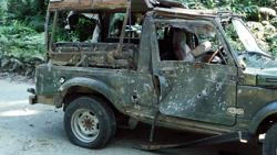 An army vehicle that was ambushed on the Pengeri-Digboi road near the Pengeri reserve forest in Assam's Tinsukia district by suspected ULFA (I) and NSCN-K militants in November 2016.