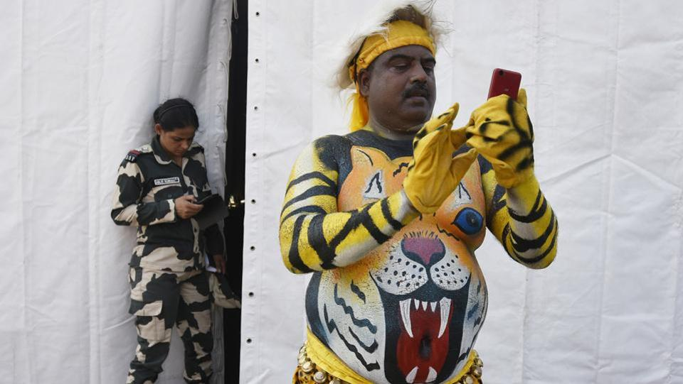 India's Border Security Force (BSF) officers left no stone unturned to look the part during the BSF Annual Welfare Meet and Exhibition 2017 at  Dayal Singh college ground in New Delhi, on Friday, October 13, 2017.  (Raj K Raj  /  HT  PHOTO)