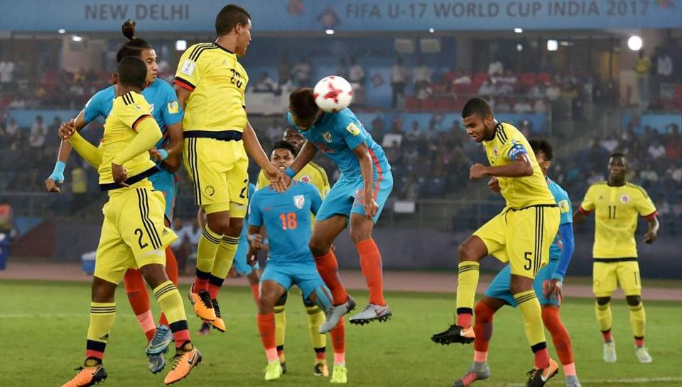 Jeakson Thounaojam (15) heading in India's goal during the FIFA U-17 World Cup 2017 football group A match against Colombia in New Delhi on October 9. It was India's only goal in the tournament.