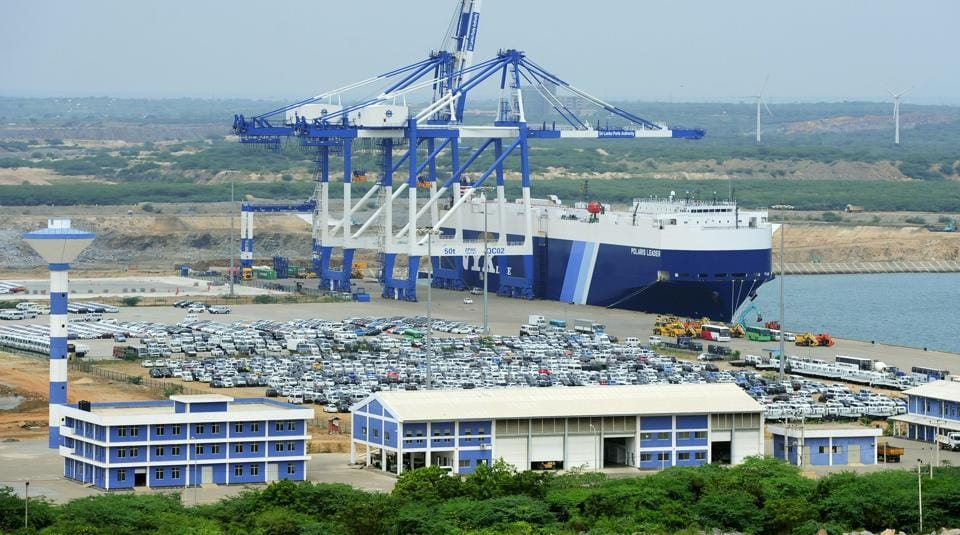 This file photo taken on February 10, 2015, shows a general view of Sri Lanka's deep sea harbour port facilities at Hambantota.