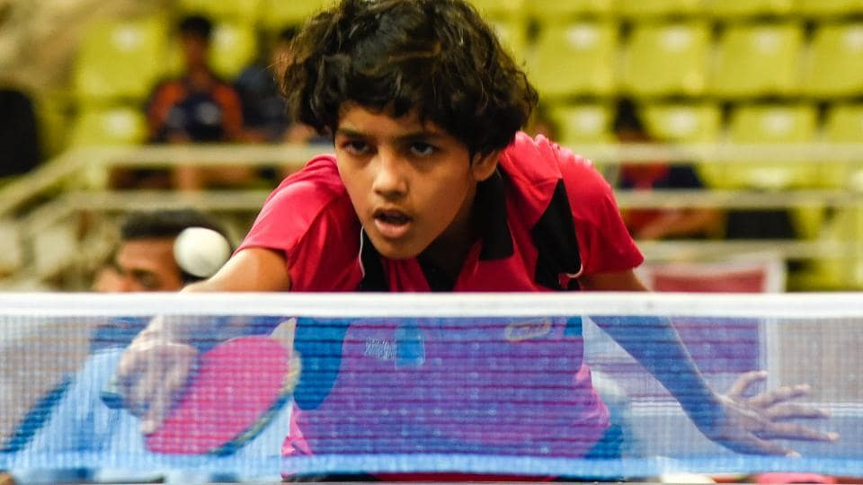 Prutha Vartikar in action at Maharashtra state level Table Tennis Championship at Balewadi Sports Complex in Pune on October 12.