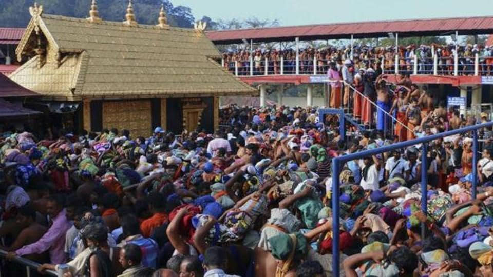 Worshippers queue during a pilgrimage at the Sabarimala temple.