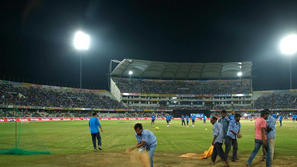 Intermittent rain over the past few days in the southern Indian city of Hyderabad caused wet patches on the ground that refused to dry despite the best efforts of the groundstaff. (BCCI )