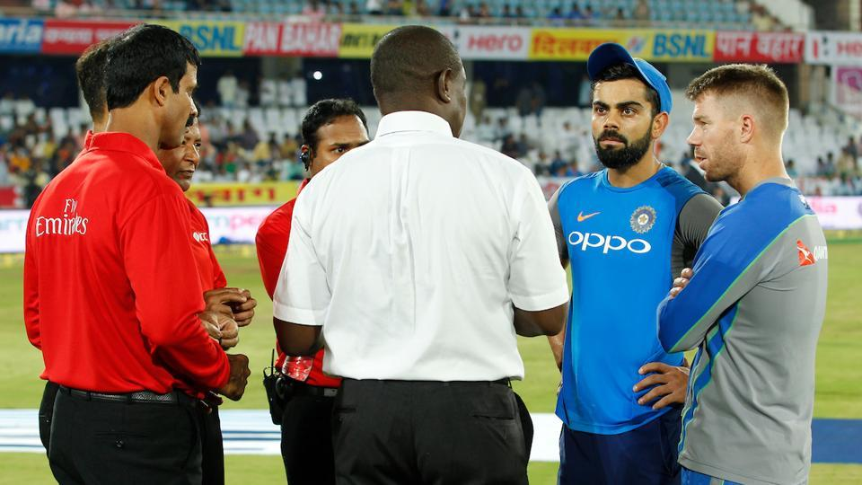There was one inspection at 7:00 pm by match referee Sir Richie Richardson and the second inspection was at 7:45 pm. Richardson, during his outfield inspection, dabbed his feet on those patches and it seemed to go deep. The match was ultimately called off at 8:15 pm.  (BCCI)