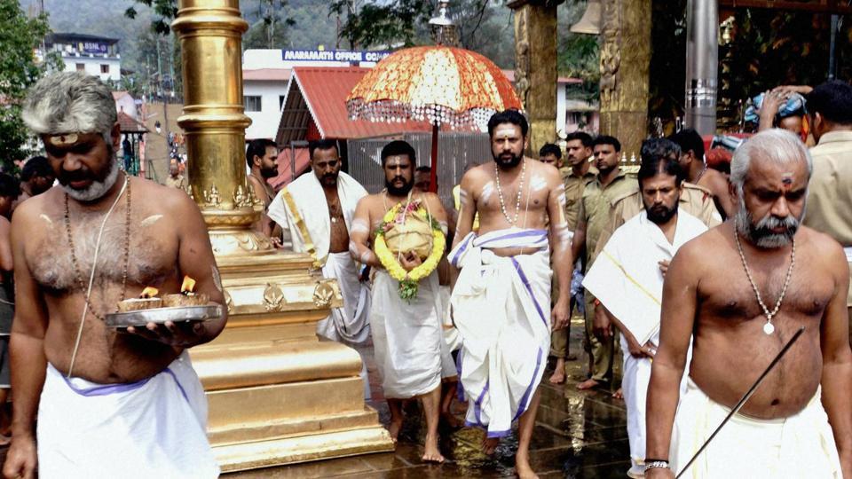 Sabarimala priests perform Kalalabhishekam at Sannidhanam in Sabarimala.