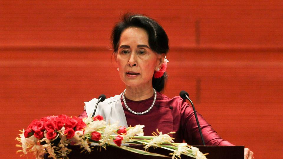 Myanmar's State Counsellor Aung San Suu Kyi delivers a national address in Naypyidaw on September 19, 2017.