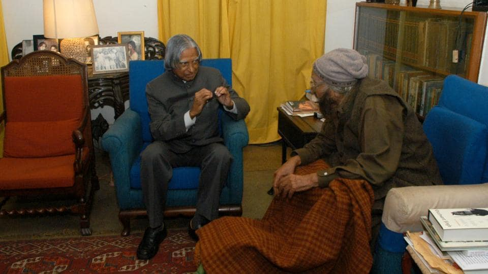 Dr. Kalam with noted writer Khushwant Singh at the latter's residence at Sujan Singh Park in 2007. After his term as India's president, Kalam returned to a life of education, writing and public service. He was conferred several prestigious awards, including the Bharat Ratna, India's highest civilian honor. (Vipin KumaR / HT Photo)