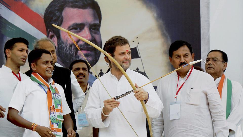 Congress vice president Rahul Gandhi at a public meeting at Devghad Bariya village of Dahod in Gujarat, on October 11, 2017