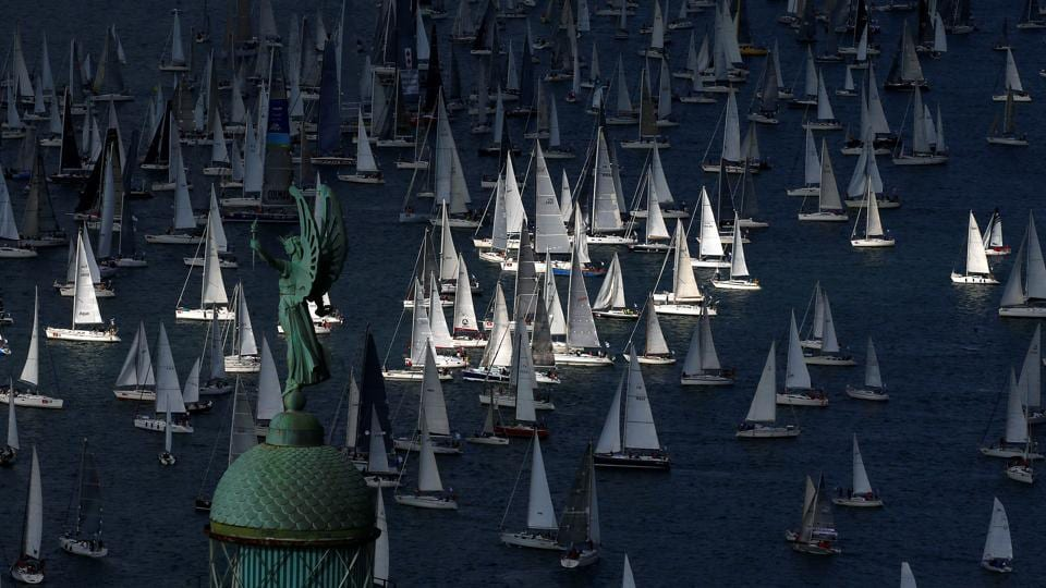 Sailing boats gather at the start of the Barcolana regatta in front of Trieste harbour, Italy October 8, 2017.  (Stefano Rellandini / REUTERS)