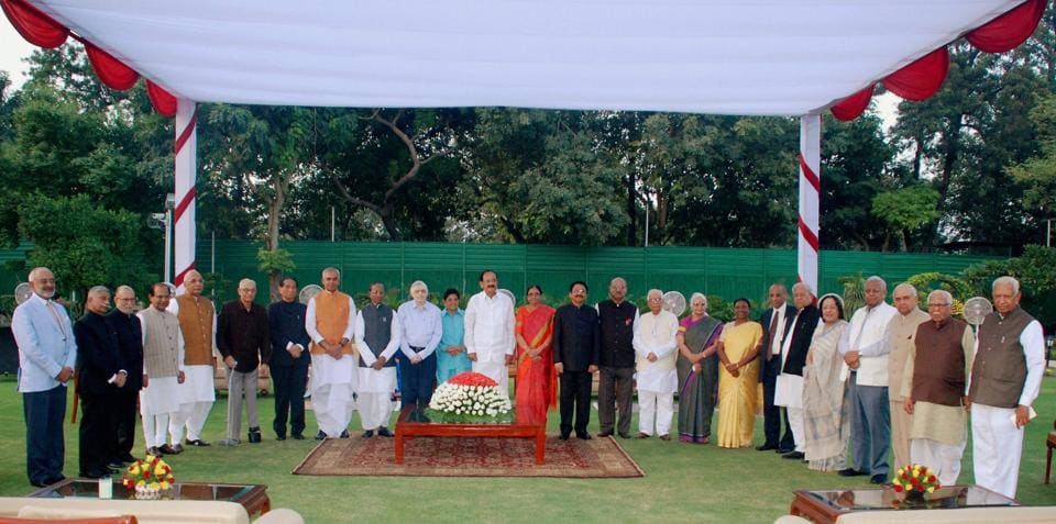 Vice President Venkaiah Naidu poses for a group photo with governors during the inauguration of Conference of Governors at Rashtrapati Bhavan in New Delhi.