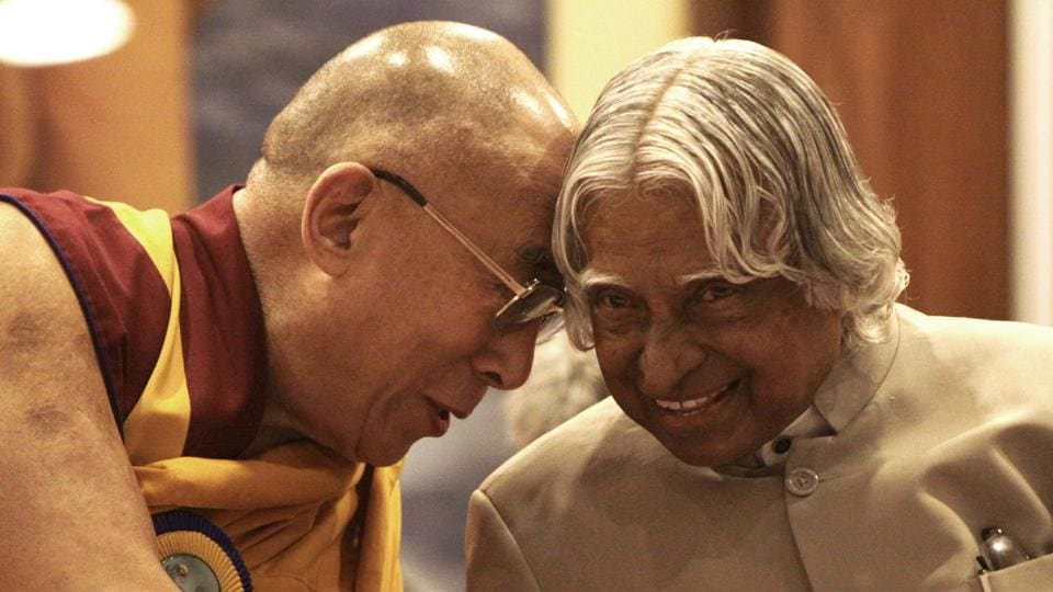 Former President APJ Abdul Kalam and Tibetan spiritual leader Dalai Lama during a 'Peace and Harmony' meet in 2012 to celebrate the 150th birth anniversary of Swami Vivekanand. Kalam was born on October 15, 1931 in Rameswaram, Tamil Nadu and studied physics and aerospace engineering. (Sunil Saxena / HT Photo)