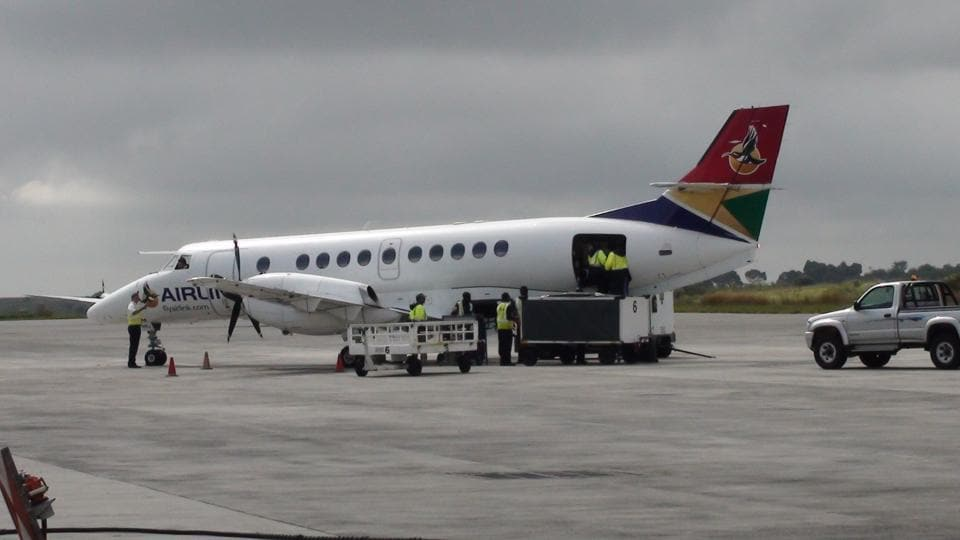 The SA Airlink plane left Johannesburg on a six-hour journey to the British-ruled territory, which hopes to draw more tourists to the deposed French emperor's final abode.